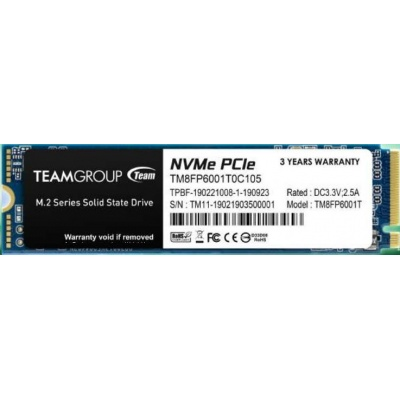 Team SSD M.2 256GB (R:1600, W:1000), MP33 PCI-e Gen3.0 x4 NVMe 1.3