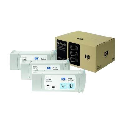 HP 81 Light Cyan DJ Ink Cart, 680 ml, 3-pack, C5070A