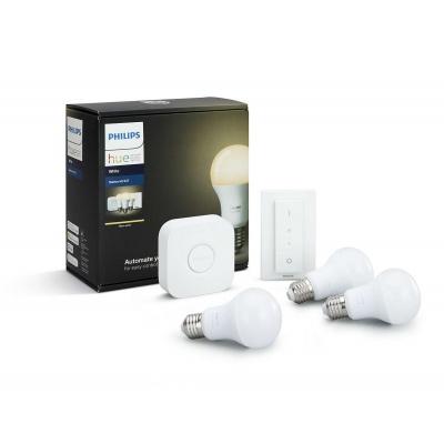 PHILIPS Hue Startovací KIT, White ( 3x žárovka 8,5W E27 + bridge + 1x ovladač se stmíváním )