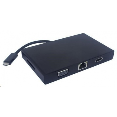 PREMIUMCORD Převodník USB3.1 na RJ45, HDMI, VGA, USB3.0, SD,audio ,PD charge