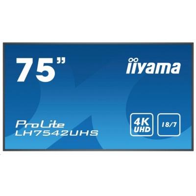 iiyama ProLite LH7542UHS-B1, 189.2cm (74.5''), black