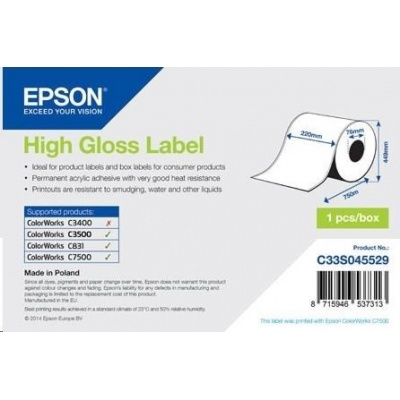Epson label roll, normal paper, 220mm