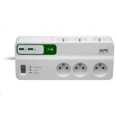 APC Essential SurgeArrest 6 outlets with 5V, 2.4A 2 port USB charger, 230V France, 2m