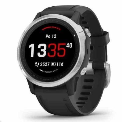 Garmin GPS sportovní hodinky fenix6S Glass Silver/Black Band