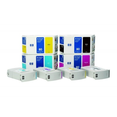 HP 80 Yellow DJ Ink Cart, 350 ml, C4848A