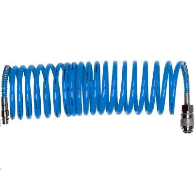 """Extol Premium hadice vzduchová spirálová PU s mosaznými rychlospojkami, 1/4"""", vnitřní Ř6mm, L 8m"""
