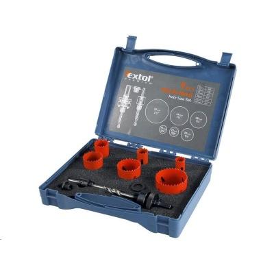 Extol Premium vrtáky korunkové, instalatérská sada 9ks, 6 průměrů: Ř19-22-29-38-44-57mm, HSS/Bi-metal 8801602