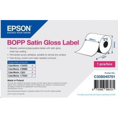 Epson label roll, synthetic, 220mm